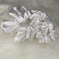 White Silky Feel Satin Hair Scrunchies
