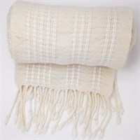 Winter White wool shawl