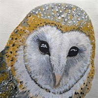 Wise and mystical barn owl watercolour p