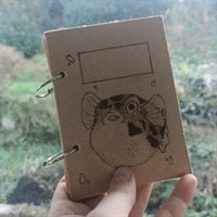Wooden Pyrographed Pufferfish Notebook