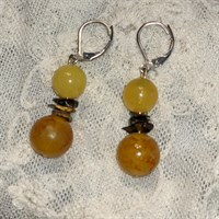 Yellow doubled beaded earrings gallery shot 10