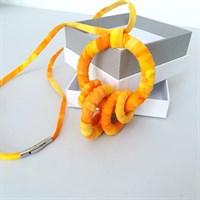 Yellow fabric pendant necklace