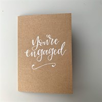 You're Engaged! on recycled brown card
